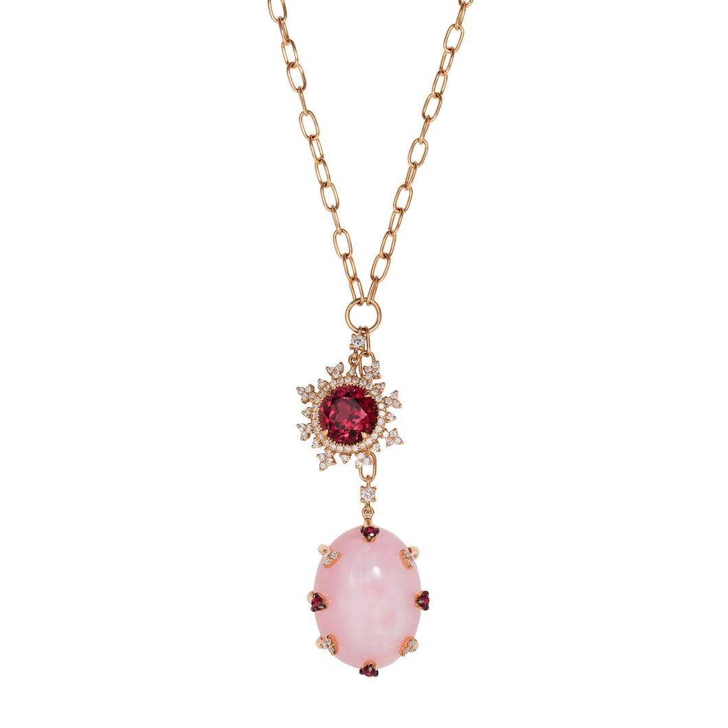 Tsarina Berry Flake & Pink Chalcedony Necklace