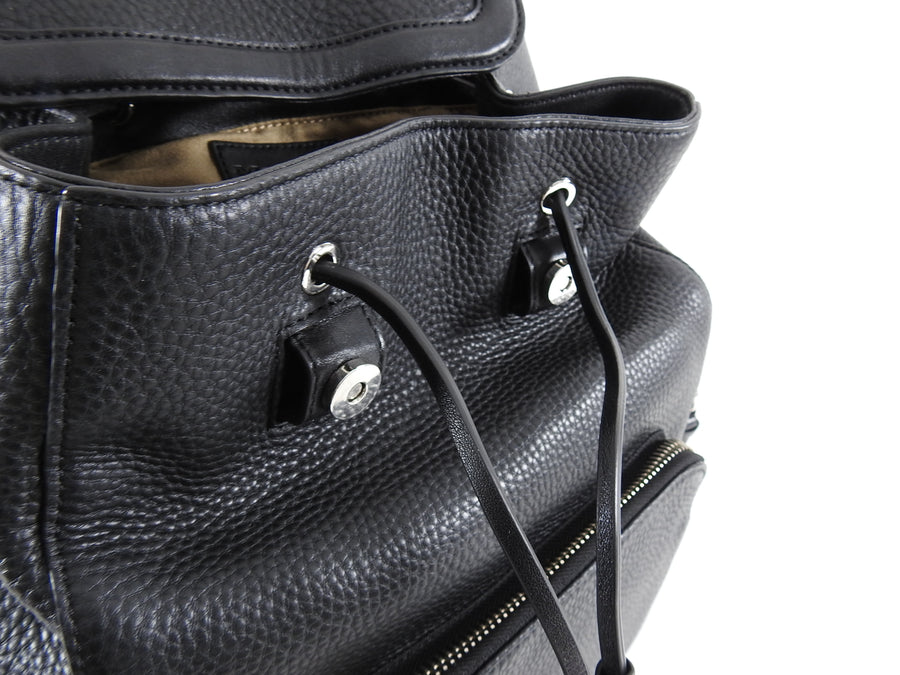 Mackage Keir Black Leather Zip Up Backpack