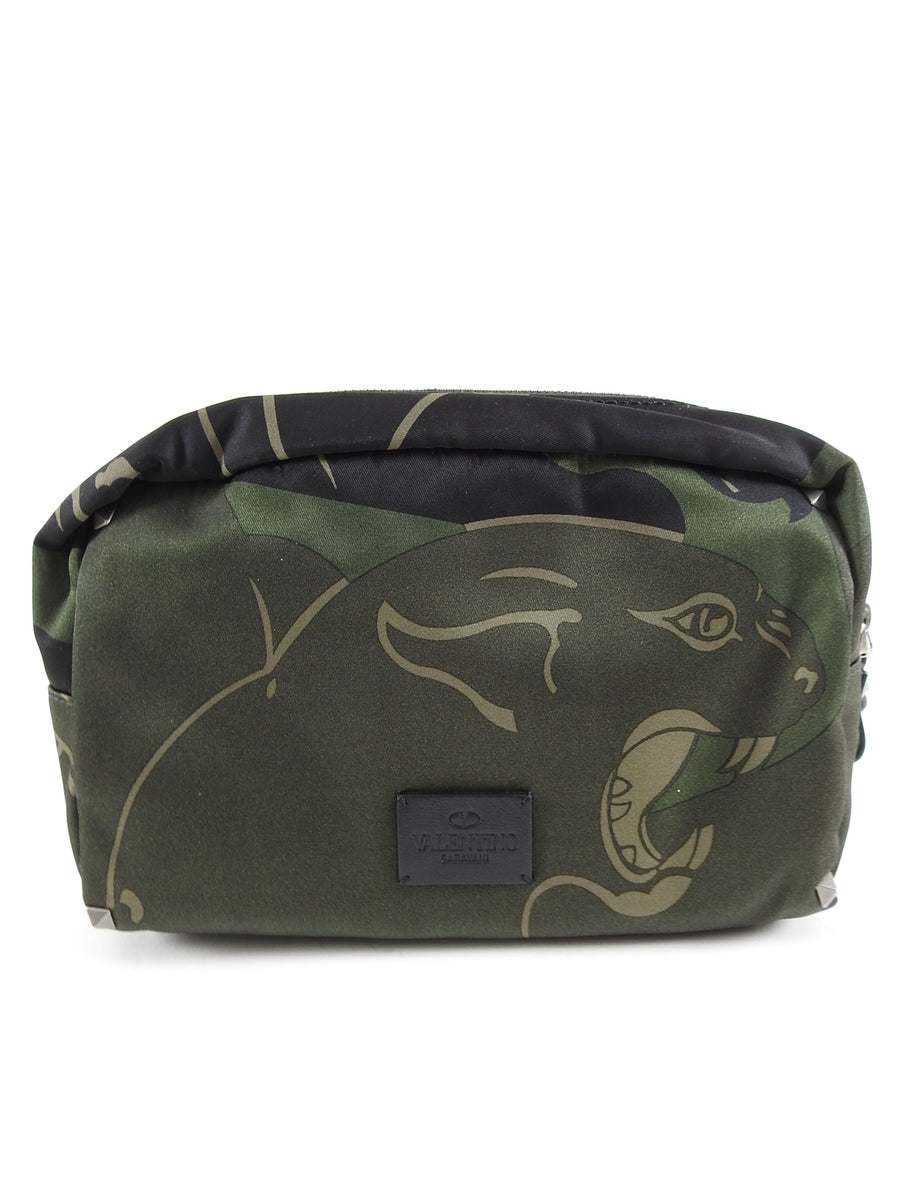 Valentino Olive Camouflage Rockstud Panther Toiletry Bag