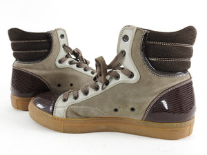 Lanvin Tennis Haute High Top Brown Suede and Leather Sneakers - 8