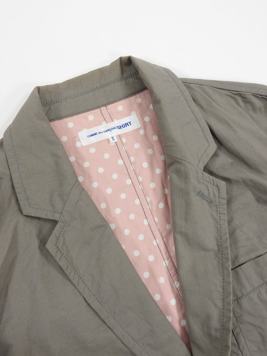 Comme Des Garcons Shirt Light Grey Cotton Twill Workwear Blazer - M