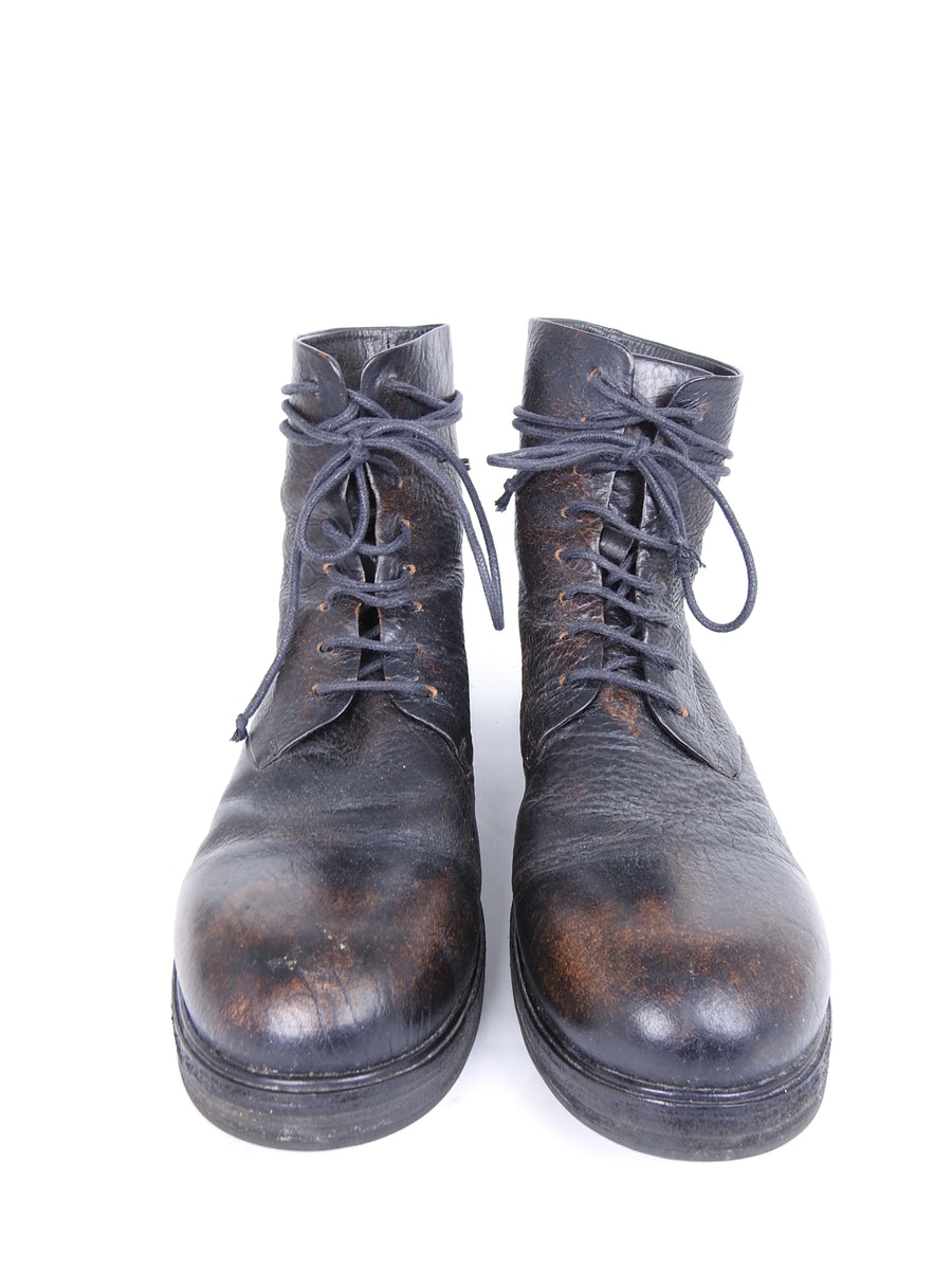 Marsell Worn Leather Reddish Brown Combat Lace Up Boots - 10