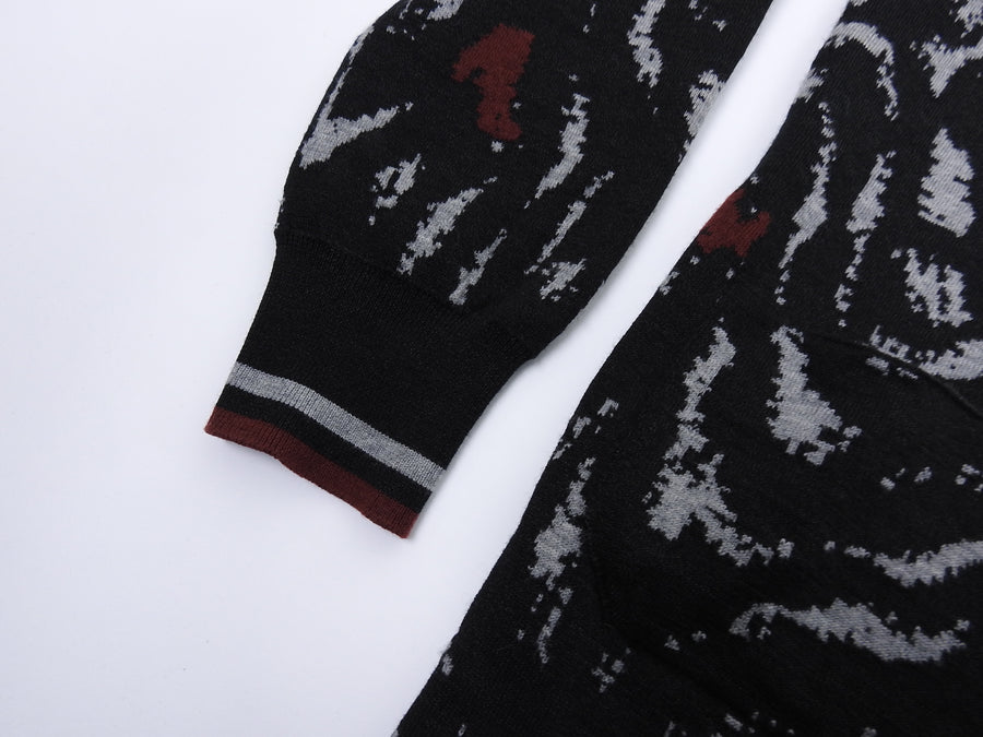 Lanvin Black Grey and Red Wool Button Up Cardigan - S