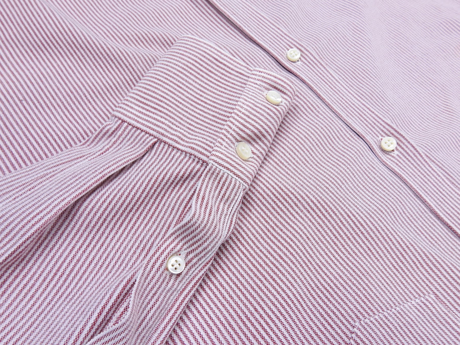 Brunello Cucinelli Red and White Striped Button Down Oxford - L
