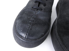 Load image into Gallery viewer, The Last Conspiracy Black Waxed Suede Side Zip Lace Up High Top Sneaker - 11