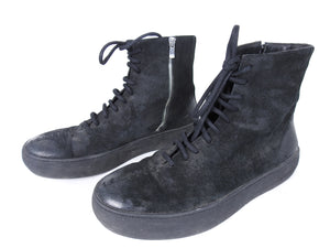 The Last Conspiracy Black Waxed Suede Side Zip Lace Up High Top Sneaker - 11