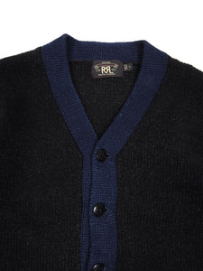 RRL & Co Black/Navy Cardigan Small