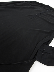 Maharishi Long Pique Cotton Shirt Black Large