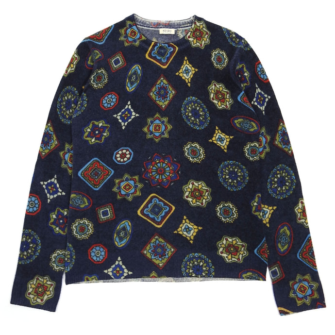 Kenzo Navy Pattern Wool Knit Small