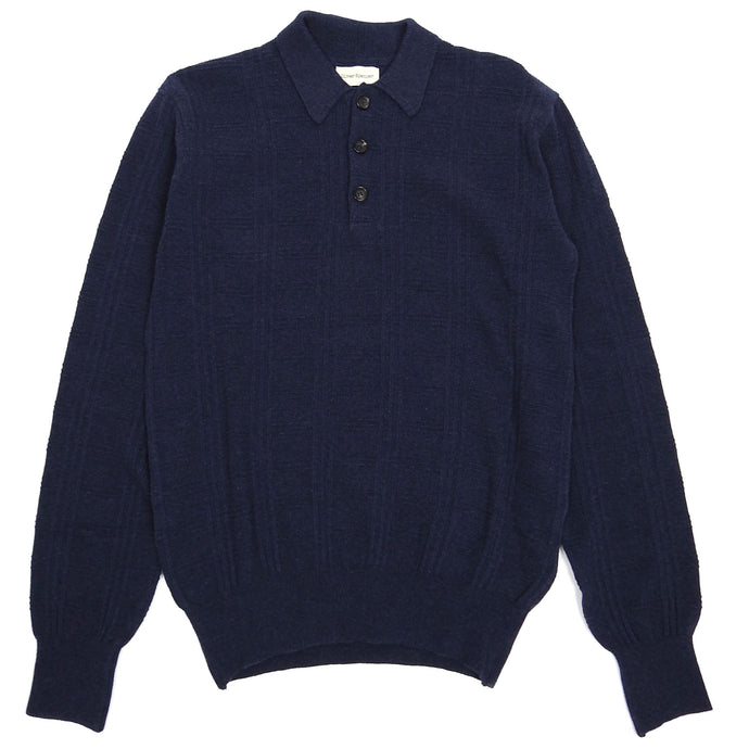 Oliver Spencer Navy Knit LS Polo Medium