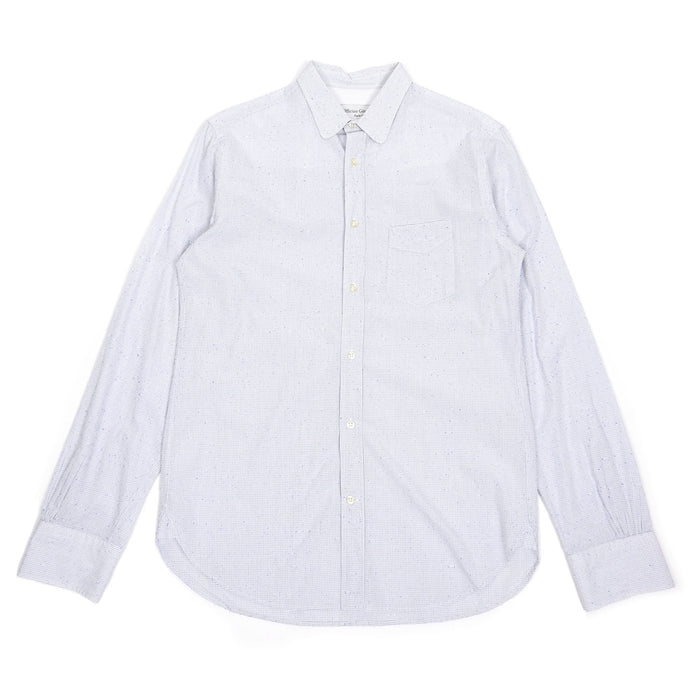 Officine Generale White/Blue Check Button Up Small