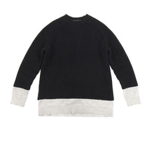 Load image into Gallery viewer, Alexander Wang Black Chunky Knit Sweater with Grey Inset