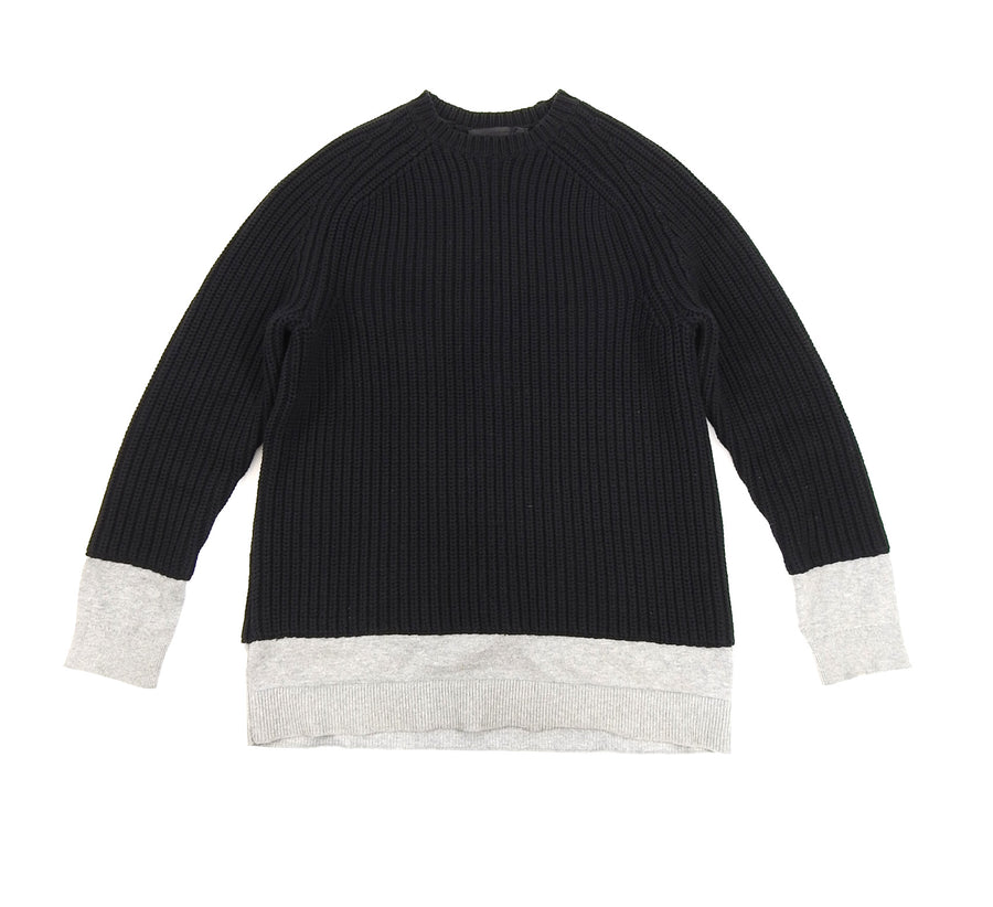 Alexander Wang Black Chunky Knit Sweater with Grey Inset