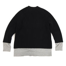 Load image into Gallery viewer, Alexander Wang Black Chunky Knit Sweater with Grey Inset - S