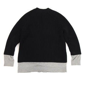Alexander Wang Black Chunky Knit Sweater with Grey Inset - S