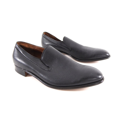 Alan McAfee England Black Leather Slip on Dress Shoes