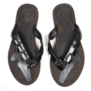 Bottega Venetta Crocodile Flip Flop Brown Size 41