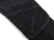 Load image into Gallery viewer, Balmain Black Slim Biker Ribbed Denim Jeans - 34