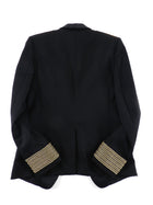 Balmain Black Military Blazer with Gold Logo Embroidered Crests - 46