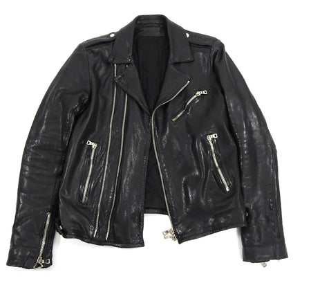 Balmain Black Heavy Lambskin Leather Moto Jacket