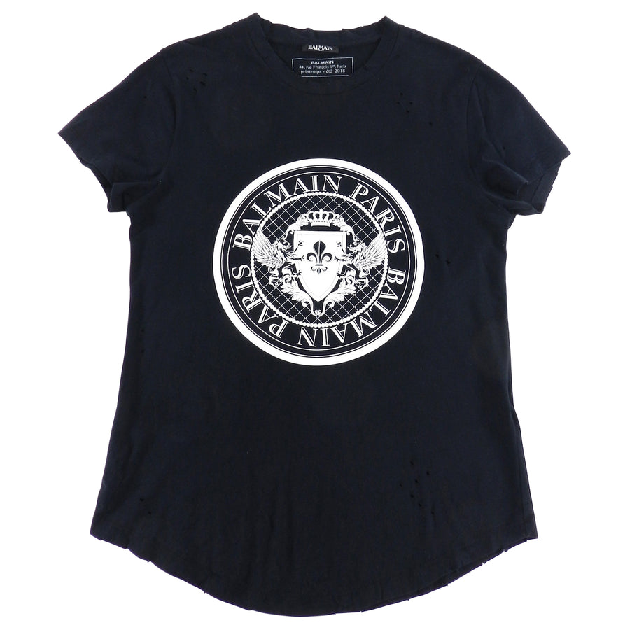 Balmain Paris Short Sleeve Black Crest Logo Tee - L