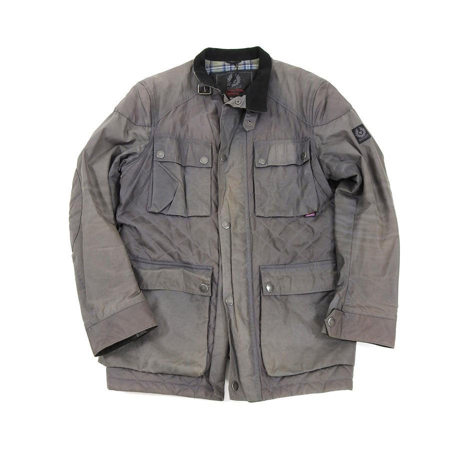 Belstaff Light Grey Workwear Quilted Coat