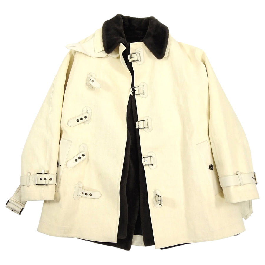 Berluti Cream Shearling Lined Canvas Coat - M