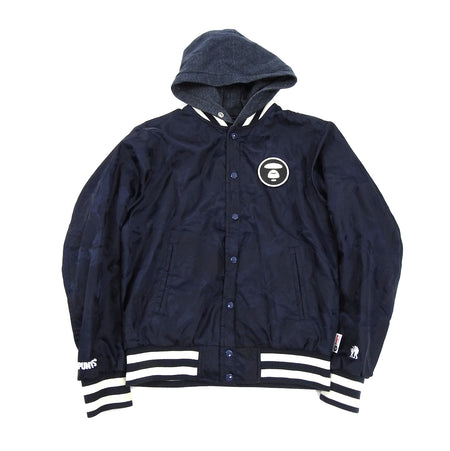 A Bathing Ape Reversible Blue Camo Hooded Bomber Jacket
