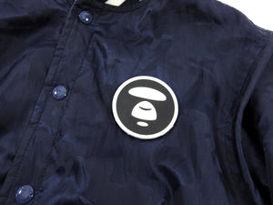 A Bathing Ape Reversible Blue Camo Hooded Bomber Jacket - M