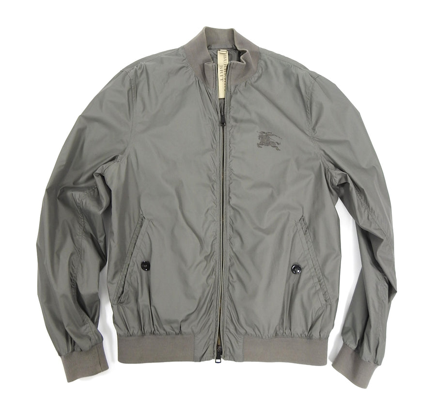 Burberry Brit Grey Light Nylon Windbreaker Bomber Jacket