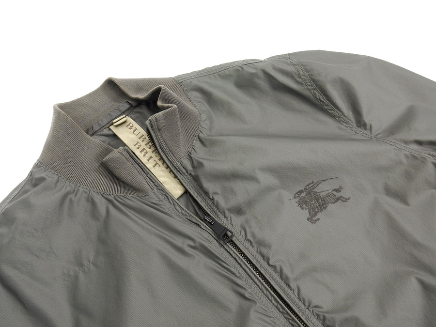 Burberry Brit Grey Light Nylon Windbreaker Bomber Jacket - L