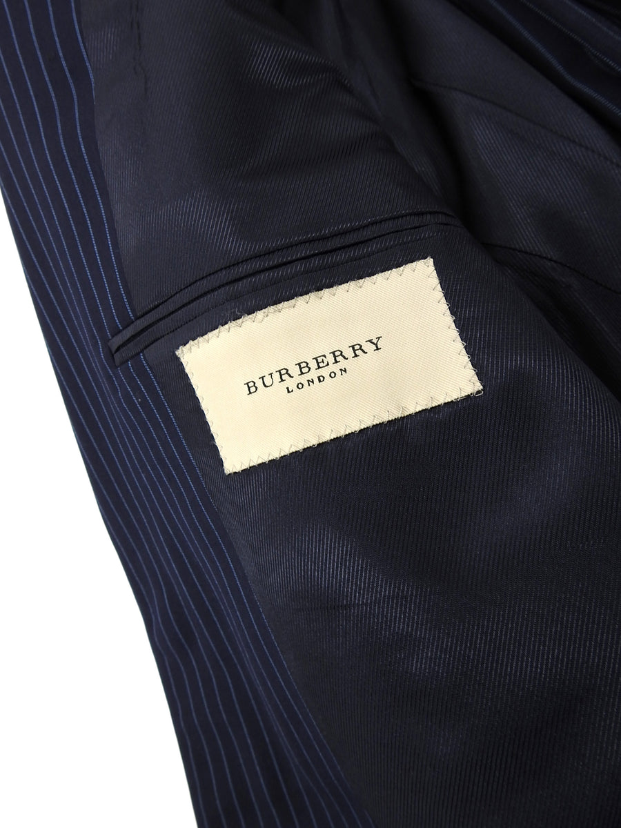 Burberry Navy and Light Blue Wool Pinstripe Suit - 40S