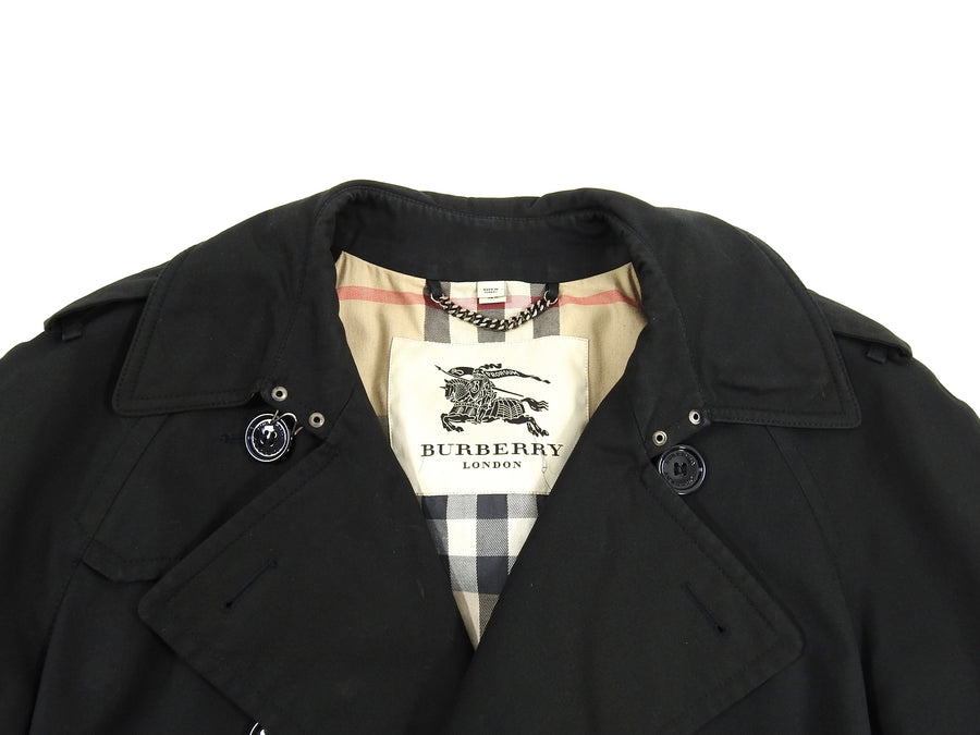 Burberry London Black Kensington Heritage Long Trench Coat - 42