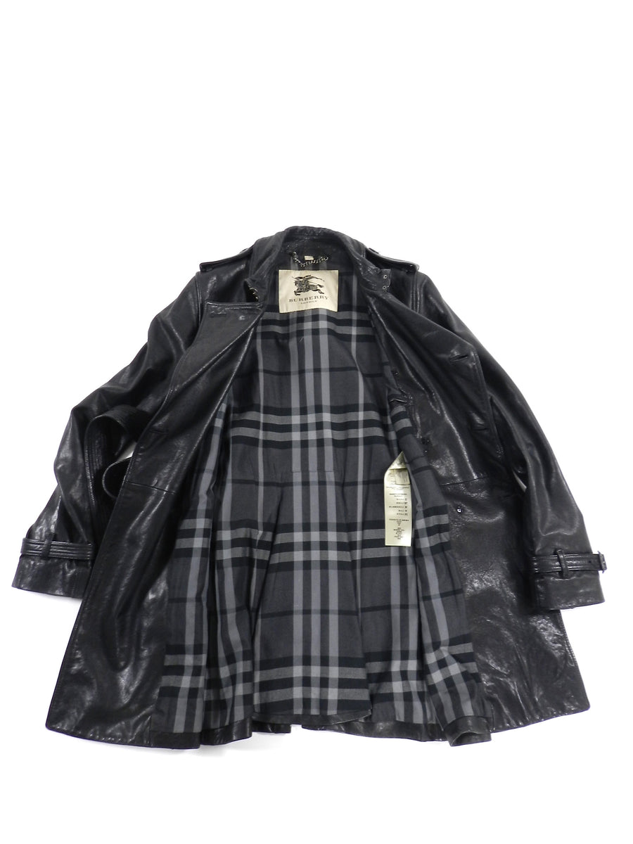 Burberry Black Lambskin Leather Trench Coat - S