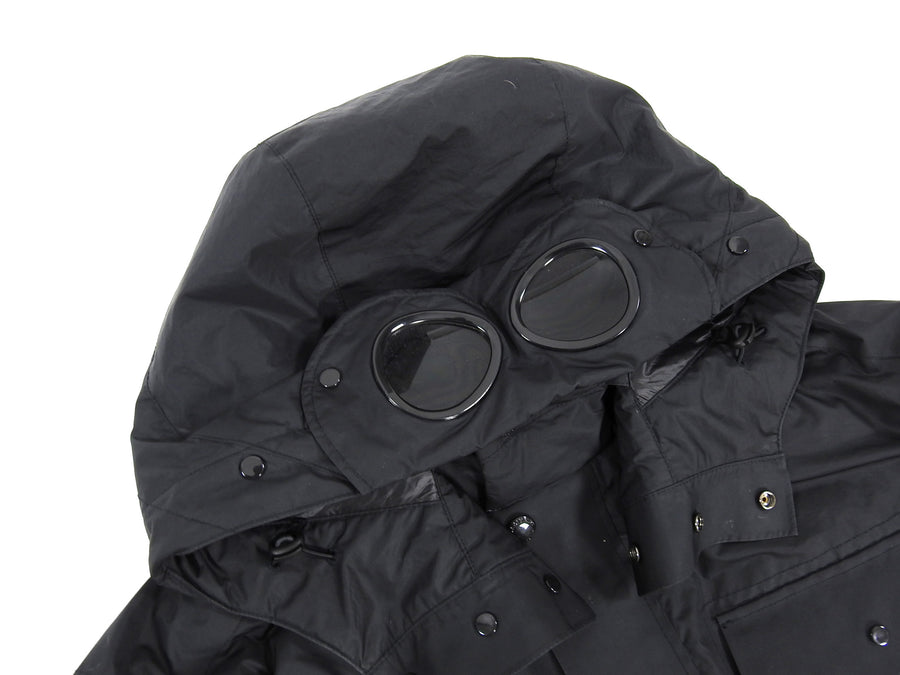 C.P. Company Black Down Parka With Built-in Goggles  - XXL