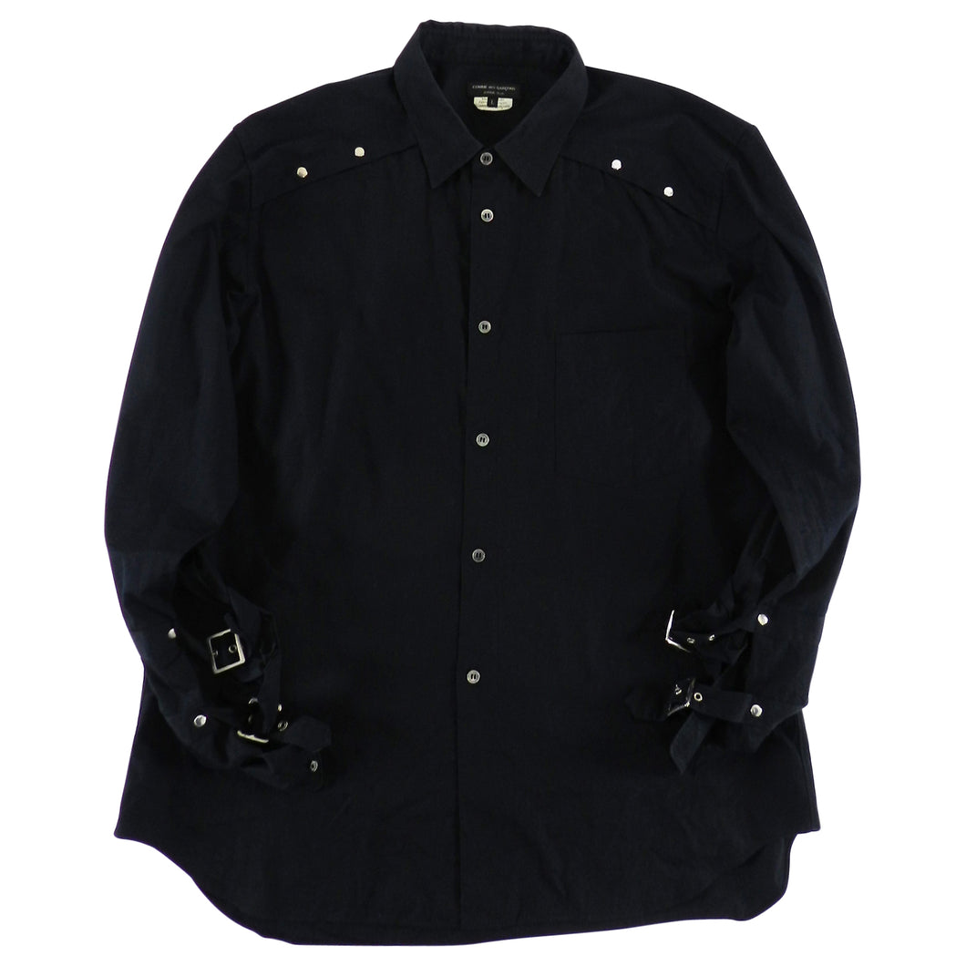 Comme Des Garcons Homme Black Button up Shirt with Buckle Cuffs - L