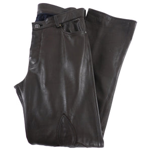 Chrome Hearts Brown Leather Straight Leg Pants with Sterling Buttons - 34