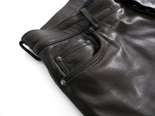 Load image into Gallery viewer, Chrome Hearts Brown Leather Straight Leg Pants with Sterling Buttons - 34