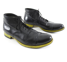 Load image into Gallery viewer, Costume National Black and Yellow Sole Lace Up Ankle Boots