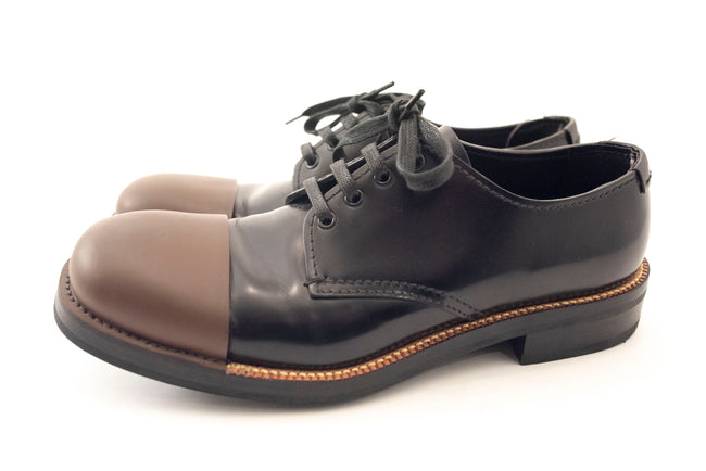 Prada Black & Brown Toe Cap Lace Up Oxfords - 9
