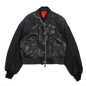 Dirk Bikkembergs Vintage Leather Bomber Black Size 52