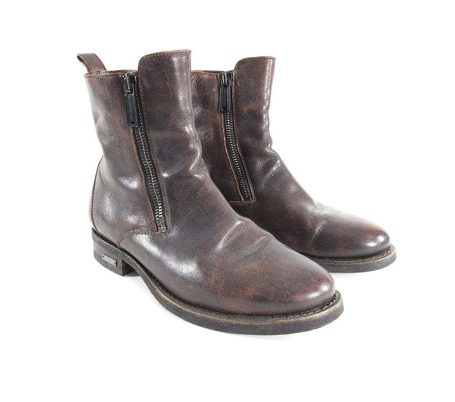 Dsquared Brown Distressed Leather Side Zip Ankle Boots