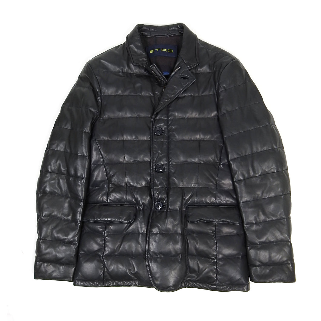 Etro Leather Padded Jacket Black Medium