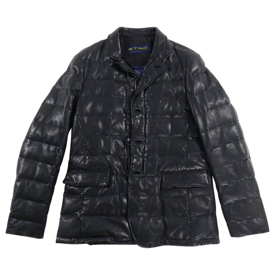Etro Down Filled Leather Puffer Coat - M