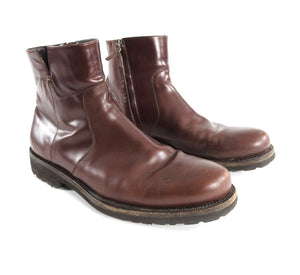 Salvatore Ferragamo Burgundy Soffio Side Zip Leather Boot