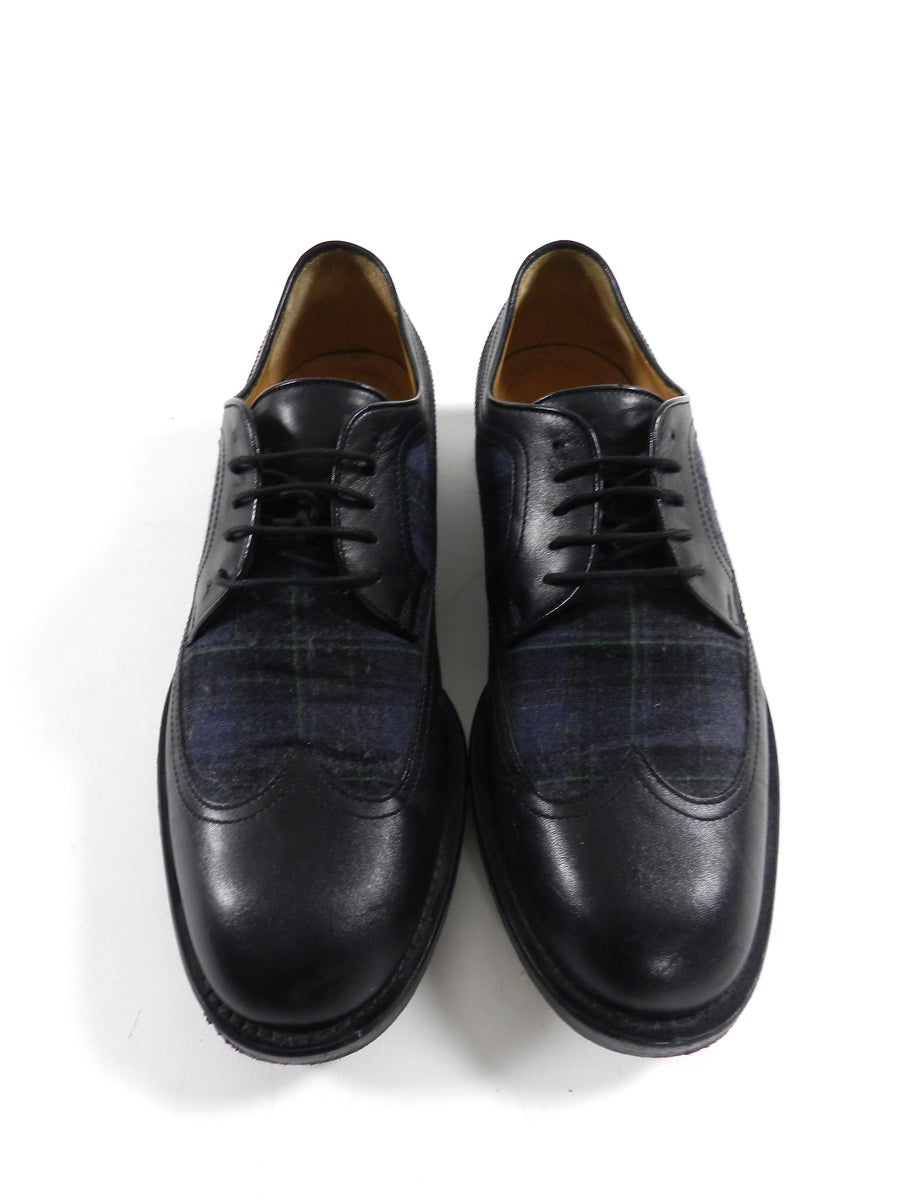 Gucci Black and Navy Tartan Oxford Shoes - 10
