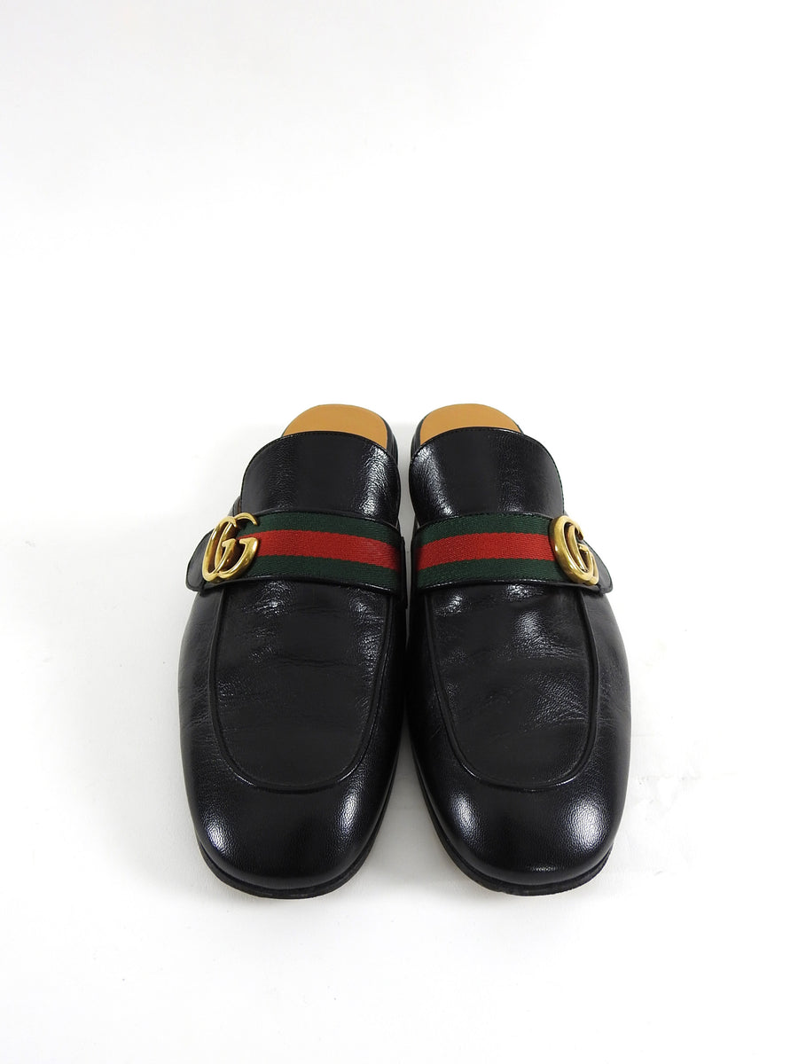 Gucci GG Black Mule Princetown Leather Slip-On Loafer - 10