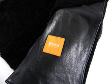 Load image into Gallery viewer, Hugo Boss Black Leather Zip Front Short Shearling Jacket - M
