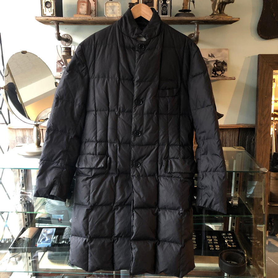 Aspesi Black Long Black Quilted Down Puffer Parka Jacket - L