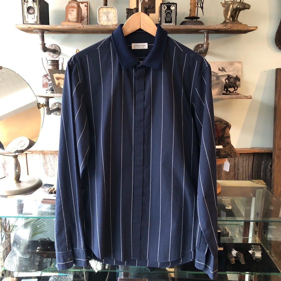 Tomorrowland Navy Collared Pinstripe Shirt - M